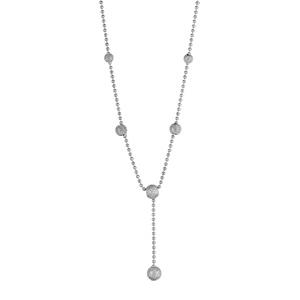 1001 Bijoux - Collier argent rhodié forme Y et boules givrées longueur 42cm pas cher