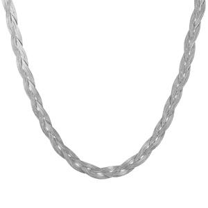 1001 Bijoux - Collier argent rhodié mailles plates tressées longueur 42 cm pas cher