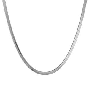 Image of Collier argent rhodié maille miroir longueur 42cm