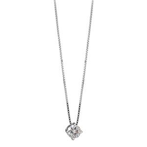 Image of Collier argent rhodié chaîne vénitienne et pendentif pierres blanches 4 griffes longueur 45cm