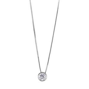 Image of Collier argent rhodié chaîne vénitienne pendentif pierre ronde et blanche 45cm