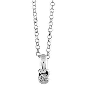 1001 Bijoux - Collier argent rhodié et diamant - 43cm réglable 46 pas cher
