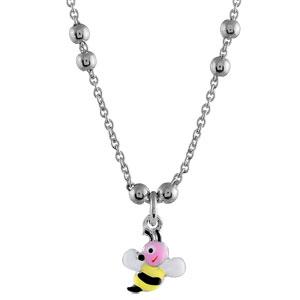 1001 Bijoux - Collier enfant argent rhodié abeille - 40cm réglable 37 pas cher