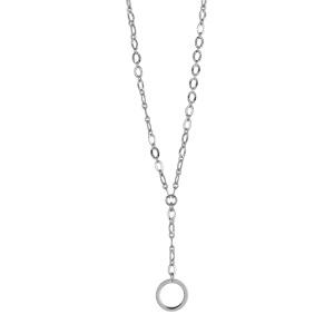 1001 Bijoux - Collier argent rhodié forme Y maille fantaisie et pendant cercle évidé longueur 42cm pas cher