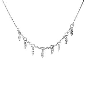 1001 Bijoux - Collier argent rhodié maille serpentine et chaînette pampilles ovales et striées longueur 42cm pas cher
