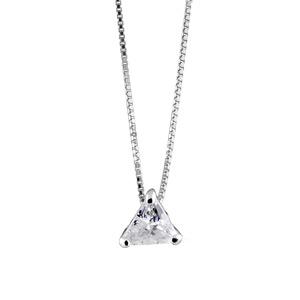 Image of Collier argent rhodié pendentif triangle pierres blanches 42+3cm