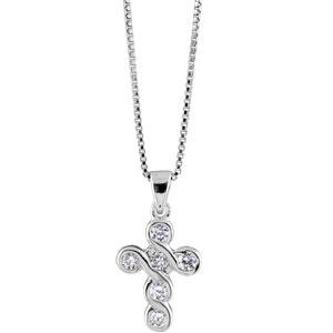 Image of Collier argent rhodié croix pierres blanches 42+3cm
