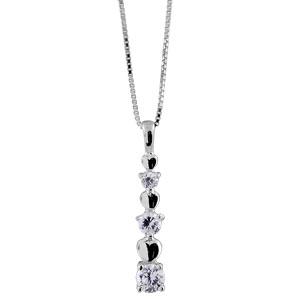 Image of Collier argent rhodié pendentif 3 pierres rondes blanches 3 coeurs 42+3cm