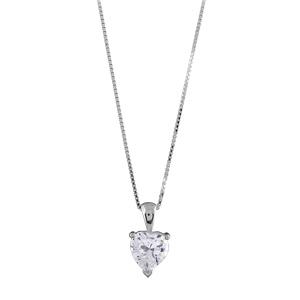 Image of Collier argent rhodié avec pendentif coeur serti clos pierres blanches