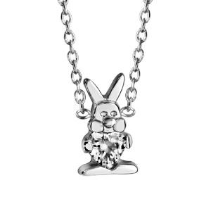 Image of Collier argent rhodié motif petit lapin oxyde blanc serti 36+2cm