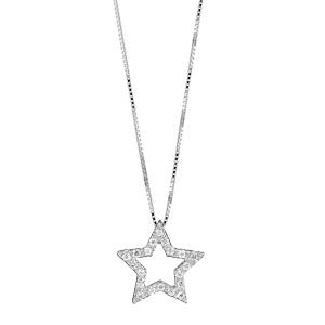 1001 Bijoux - Collier argent rhodié pendentif étoile découpée pierres blanches réglable 42+3cm pas cher
