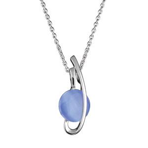 Image of Collier argent rhodié avec pendentif pastille bleue
