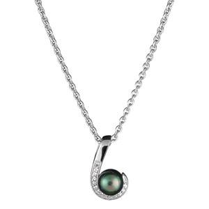 1001 Bijoux - Collier argent rhodie perle imitation grise pas cher