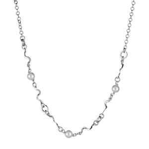 1001 Bijoux - Collier argent rhodié serpentin et perles imitation crème réglable 40+3cm pas cher