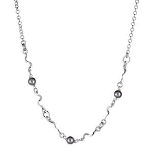 1001 Bijoux - Collier argent rhodié serpentin et perles imitation grise réglable 40+3cm pas cher