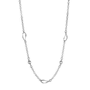 1001 Bijoux - Collier argent rhodié chaine 3 ovales et 2 boules réglable 42+3cm pas cher