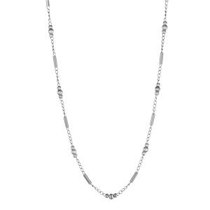 1001 Bijoux - Collier argent rhodié chaine cylindres et boules réglable 41+3cm pas cher