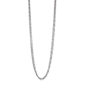 1001 Bijoux - Collier argent rhodié 7 chaines maille boule longueur 42cm pas cher