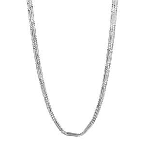 1001 Bijoux - Collier argent rhodié triple chaines baguettes et boules longueur 42cm pas cher