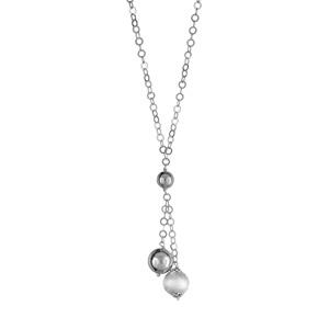 1001 Bijoux - Collier argent rhodié maille anneaux et trio de boules réglable 41+3cm pas cher