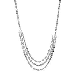 Image of Collier argent rhodié 6 chaînettes plaquettes ovales en dégradé réglable 42+3cm