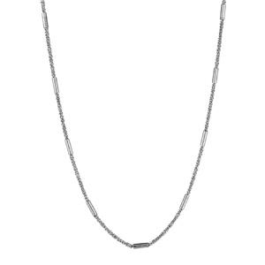 1001 Bijoux - Collier argent rhodié maille twist et cylindres longueur 40cm pas cher