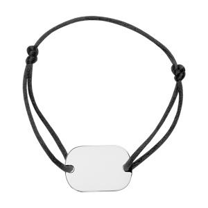 1001 Bijoux - Bracelet cordon coulissant plaque gi argent grand modèle 18x25,70 pans arrondis pas cher