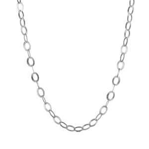 Image of Collier argent rhodié maille jaseron longueur 45cm