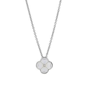 Image of Collier argent rhodié chaînette pendentif fleur nacre et oxyde 43+3cm