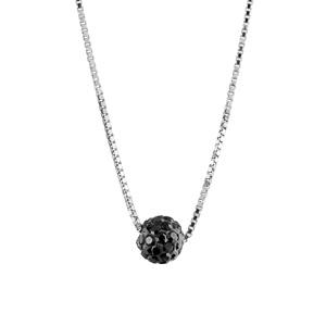 Image of Collier argent rhodié et petite boule résine noire et strass réglable 38+5cm