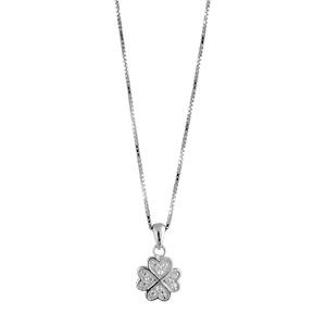 Image of Collier argent rhodié et pendentif 4 coeurs pierres synthétiques blanches réglable 42+3cm