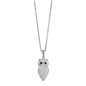 Image of Collier argent rhodié et pendentif chouette pierres synthétiques blanches réglable 42+3cm