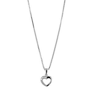 1001 Bijoux - Collier argent rhodié et pendentif petit coeur ajouré et pierres blanches synthétiques réglable 42+3cm pas cher