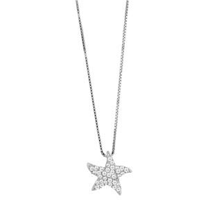 1001 Bijoux - Collier argent rhodié et pendentif étoile de mer et pierres blanches synthétiques réglable 42+3cm pas cher
