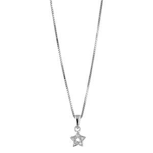 1001 Bijoux - Collier argent rhodié et pendentif étoile et pierres blanches synthétiques 42+3cm pas cher