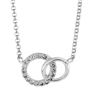 1001 Bijoux - Collier argent rhodié duo de cercles entremélés et pierres blanches synthétiques réglable 40+2cm pas cher