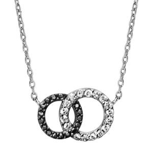 1001 Bijoux - Collier argent rhodié 2 cercles entremelés pierres blanches et noires 40+2cm pas cher