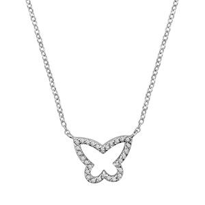 1001 Bijoux - Collier argent rhodié forme papillon pierres blanches 40+2cm pas cher