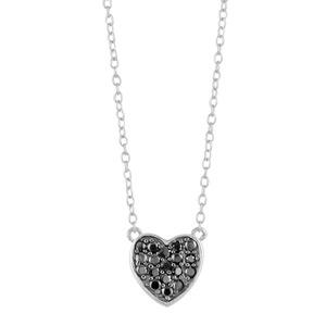1001 Bijoux - Collier argent rhodié pendentif coeur pierres noires synthétiques réglable 43+3cm pas cher