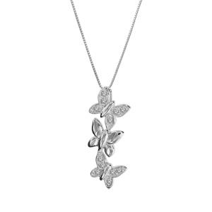 Image of Collier argent rhodié 3 papillons oxydes sertis blancs 42+3cm