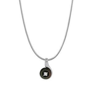 Image of Collier argent rhodié fil nylon pendentif rond nacre noire véritable petite pierre blanche synthétique 40+3cm
