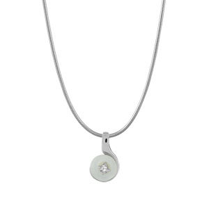Image of Collier argent rhodié fil nylon pendentif rond nacre blanche véritable petite pierre blanche synthétique 40+3cm