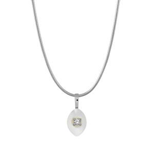 Image of Collier argent rhodié fil nylon pendentif navette nacre blanche véritable petite pierre blanche synthétique 40+3cm