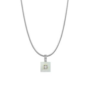 Image of Collier argent rhodié fil nylon pendentif carré nacre blanche véritable petite pierre blanche synthétique 40+3cm