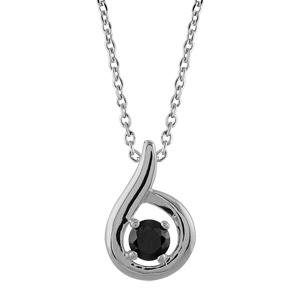 Image of Collier argent rhodié pendentif pierre noire 38cm