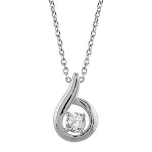 Image of Collier argent rhodié pendentif pierre blanche 38cm