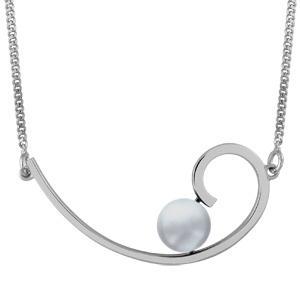 1001 Bijoux - Collier argent rhodié volute perle de culture grise d'eau douce 43+3cm pas cher
