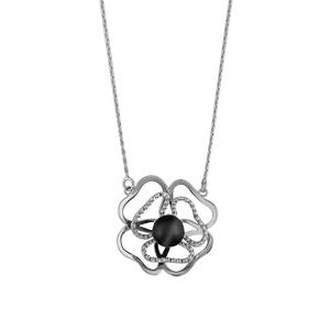 Image of Collier argent rhodié double fleur découpée boule oeil de chat gris 43+3cm