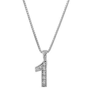Image of Collier argent rhodié pendentif chiffre 1 oxydes sertis blancs 40cm