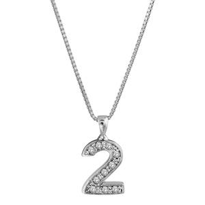 1001 Bijoux - Collier argent rhodié pendentif chiffre 2 oxydes sertis blancs 40cm pas cher